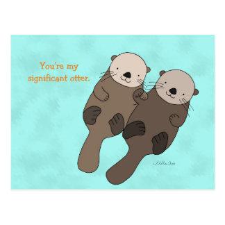 Otter Holding Hands Postcard Cute Otter Couple