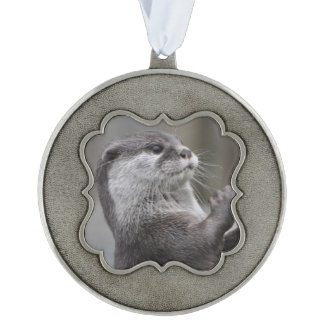 Otter Mastermind Scalloped Pewter Ornament