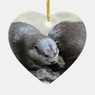 Otter Pair Christmas Ornaments