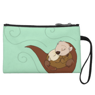 Otter parent and baby wristlet purses