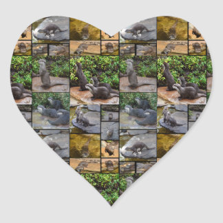 Otter Photo Collage Heart Stickers. Heart Sticker