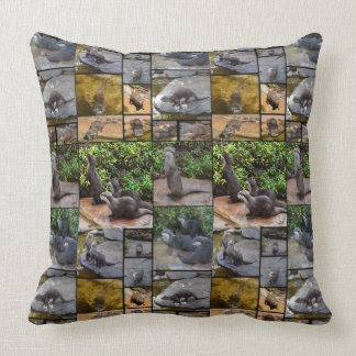 Otter Photo Collage, Large Throw Cushion. Throw Pillow