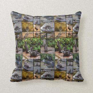 Otter Photo Collage, Throw Cushion. Throw Pillow