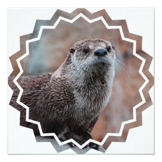 """Otter Photo Invitation 5.25"""" Square Invitation Card"""