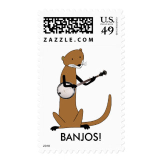 Otter Playing the Banjo Stamp