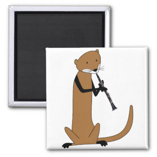 Otter Playing the Clarinet 2 Inch Square Magnet