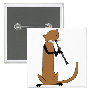 Otter Playing the Clarinet 2 Inch Square Button