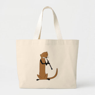 Otter Playing the Clarinet Large Tote Bag
