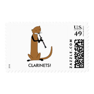 Otter Playing the Clarinet Postage Stamp