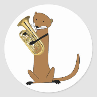 Otter Playing the Euphonium Classic Round Sticker
