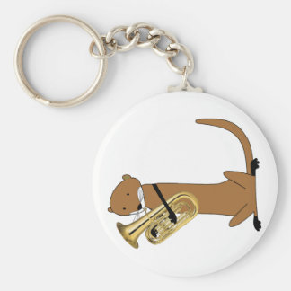 Otter Playing the Euphonium Key Chain