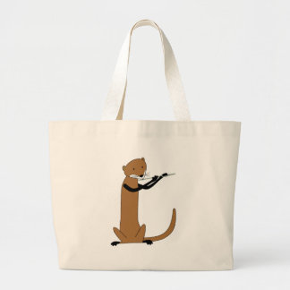 Otter Playing the Flute Large Tote Bag