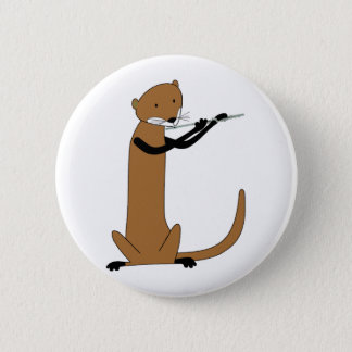 Otter Playing the Flute Pinback Button