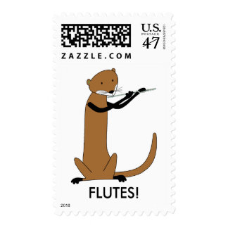 Otter Playing the Flute Postage