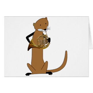 Otter Playing the French Horn Card