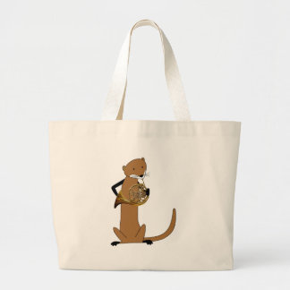 Otter Playing the French Horn Large Tote Bag