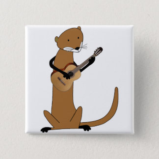 Otter Playing the Guitar Pinback Button