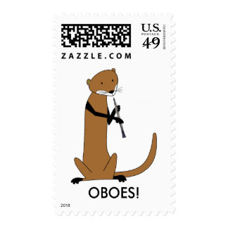 Otter Playing the Oboe Postage Stamp