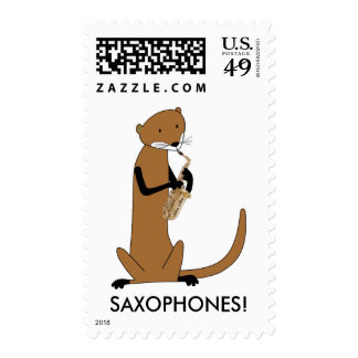 Otter Playing the Saxophone Postage Stamp