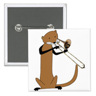 Otter Playing the Trombone 2 Inch Square Button
