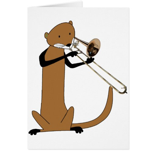 Otter Playing the Trombone Greeting Card