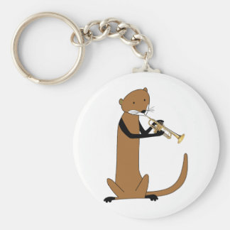 Otter Playing the Trumpet Key Chain