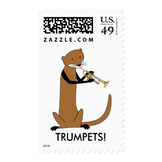 Otter Playing the Trumpet Postage Stamps