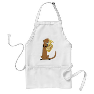 Otter Playing the Tuba Adult Apron