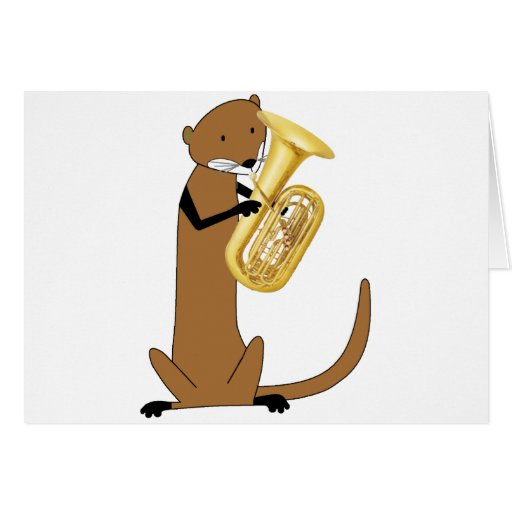 Otter Playing the Tuba Greeting Card