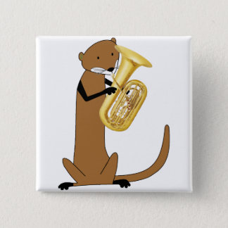 Otter Playing the Tuba Pinback Button
