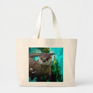 Otter Portrait Large Tote Bag