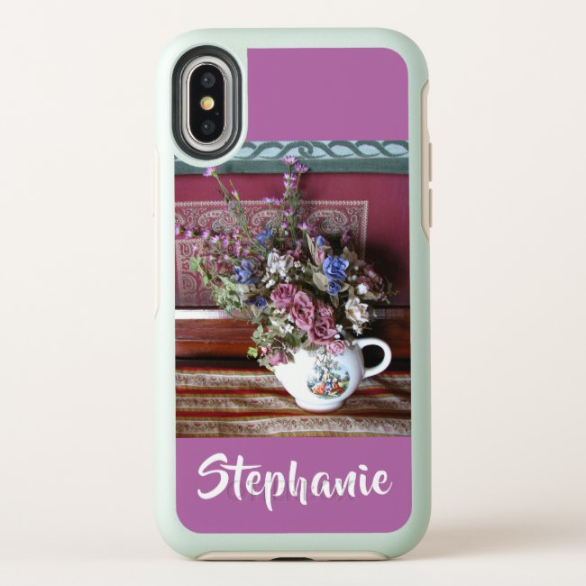 Otterbox iPhone XS Max XR Teapot Flowers Purple