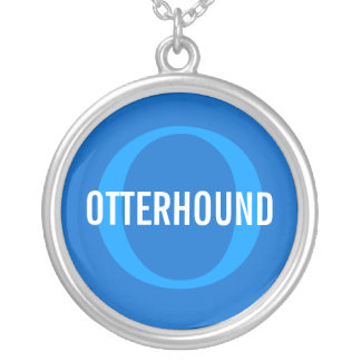 Otterhound Breed Monogram Round Pendant Necklace