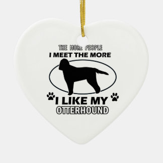 Otterhound designs and gifts Double-Sided heart ceramic christmas ornament
