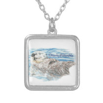 Otterly Adorable Humorous Cute  Otter Animal Silver Plated Necklace