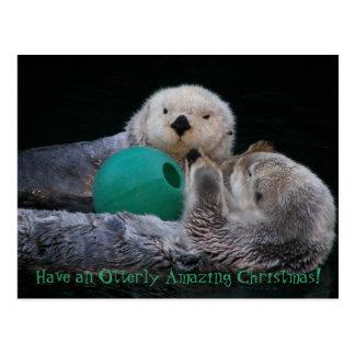 Otterly Amazing Sea Otters Christmas Postcard