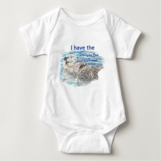 Otterly Best Mom Ever Humor Quote & Otter Baby Bodysuit