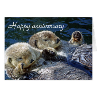 Otters Anniversary Card at Zazzle