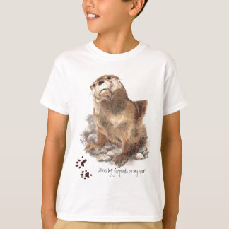 Otters left footprints on my heart , funny Animal T-Shirt