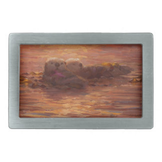 Otters Snuggling at Sunset Floating With Kelp Belt Buckle