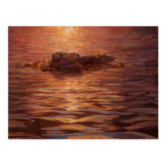 Otters Snuggling at Sunset Floating With Kelp Postcard