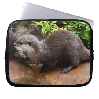Otters Waiting For Tasty Fish, Laptop Sleeve
