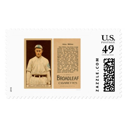 Otto Miller Dodgers Baseball 1912 Postage Stamps