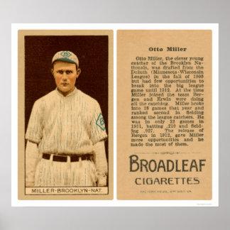Otto Miller Dodgers Baseball 1912 Poster