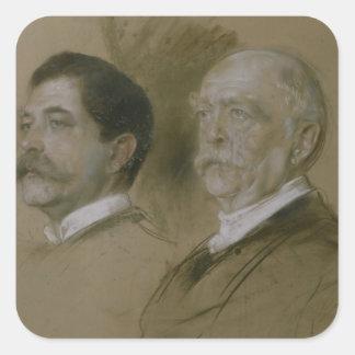Otto von Bismarck y su hijo Herberto Pegatina Cuadrada