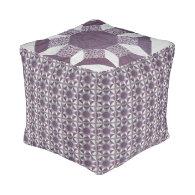 Ottoman (cube) - Purple Quilt Pattern Cube Pouf
