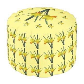 Ottoman - Daffodil Blossoms Round Pouf