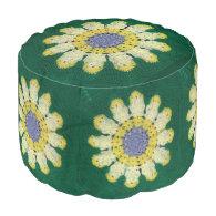 Ottoman - Daisy Pattern Round Pouf