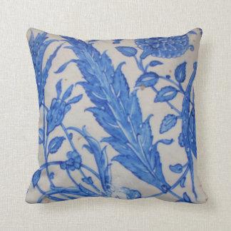 Ottoman Iznik blue and floral white ceramic tile Pillow