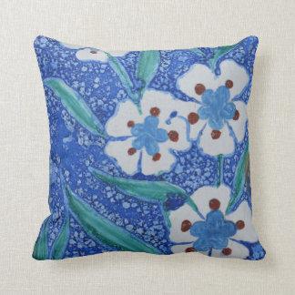 Ottoman Iznik blue and floral white ceramic tile Throw Pillow